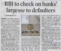 RBI to check on banks' largesse to defaulters