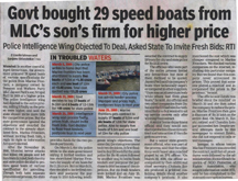 Govt bought 29 speed boats from MLC's son's firm for higher price